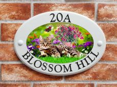 Tabby cat & flowers design house plaque